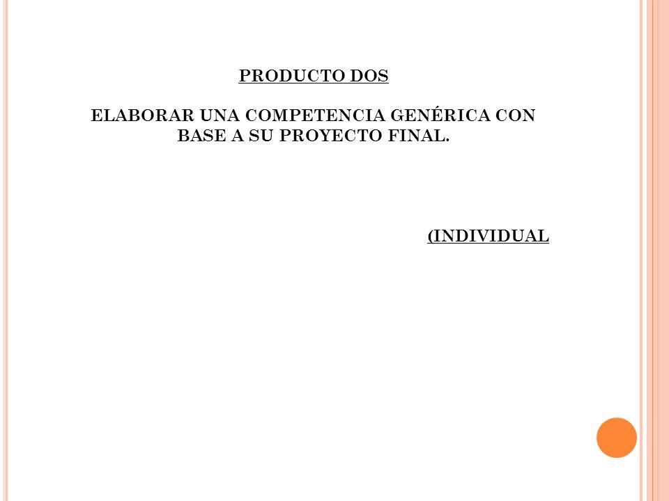 ELABORAR UNA COMPETENCIA GENÉRICA CON BASE A SU PROYECTO FINAL.