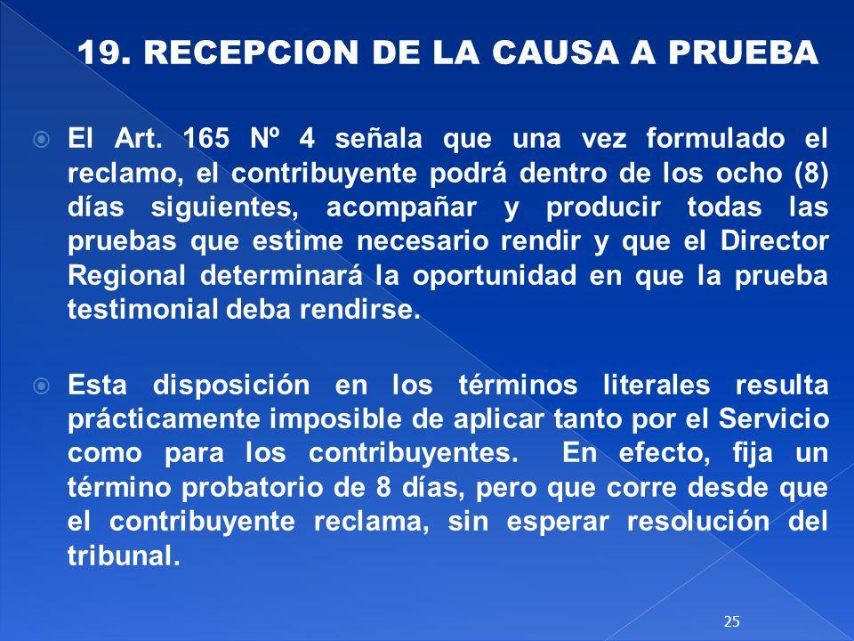 19. RECEPCION DE LA CAUSA A PRUEBA
