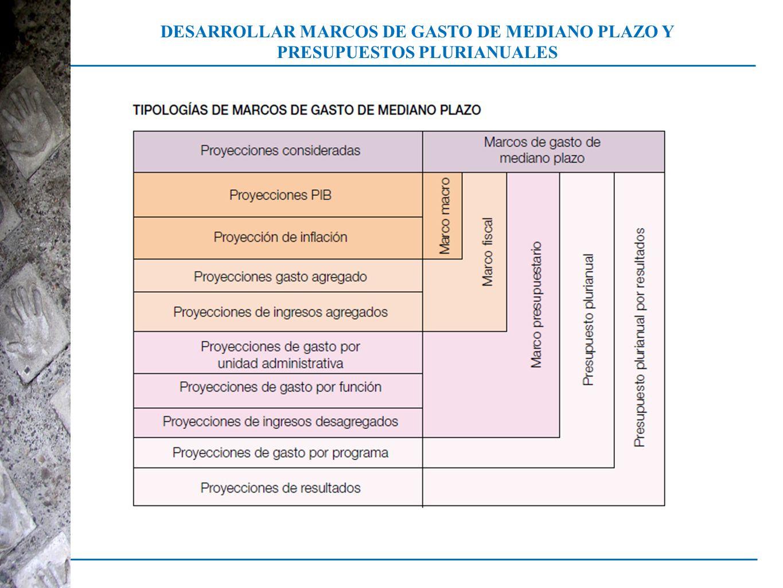 DESARROLLAR MARCOS DE GASTO DE MEDIANO PLAZO Y PRESUPUESTOS PLURIANUALES