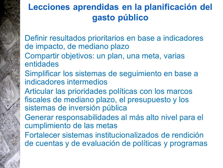Lecciones aprendidas en la planificación del gasto público