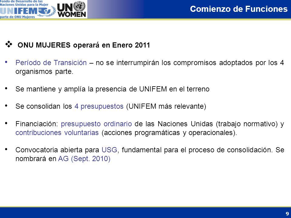 Comienzo de Funciones ONU MUJERES operará en Enero 2011