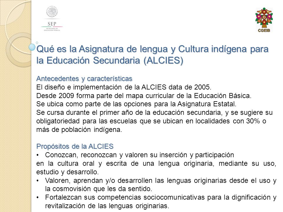 Qué es la Asignatura de lengua y Cultura indígena para la Educación Secundaria (ALCIES)