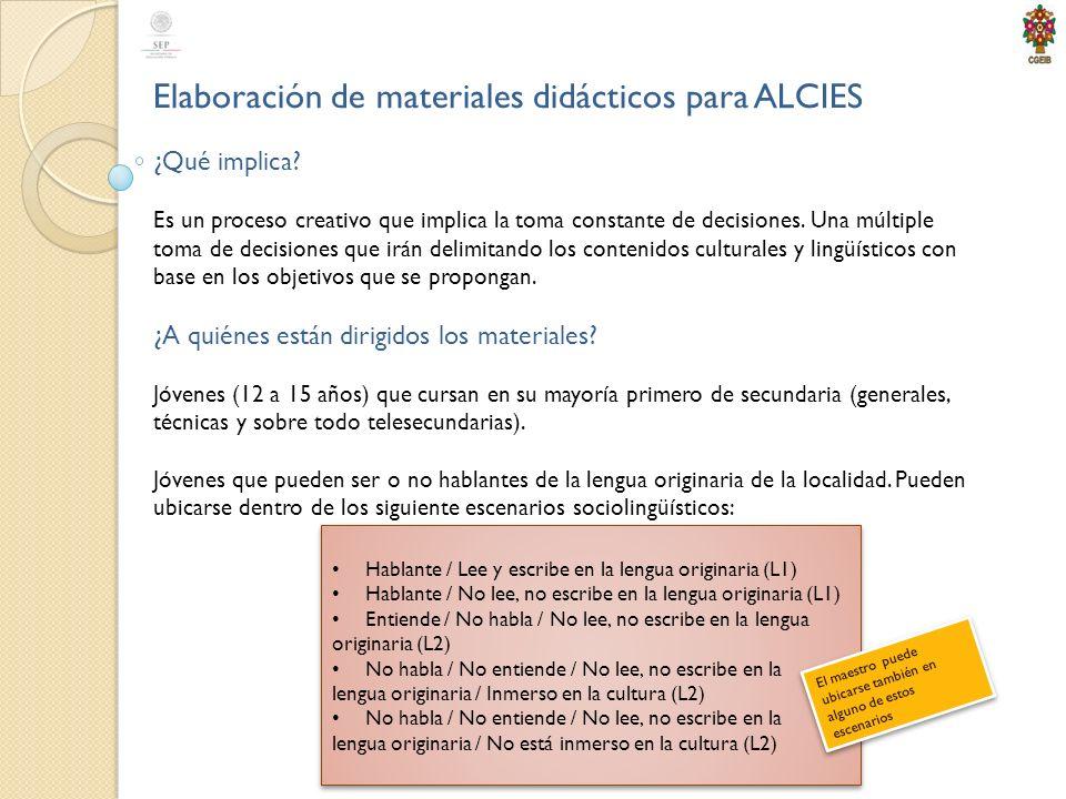 Elaboración de materiales didácticos para ALCIES