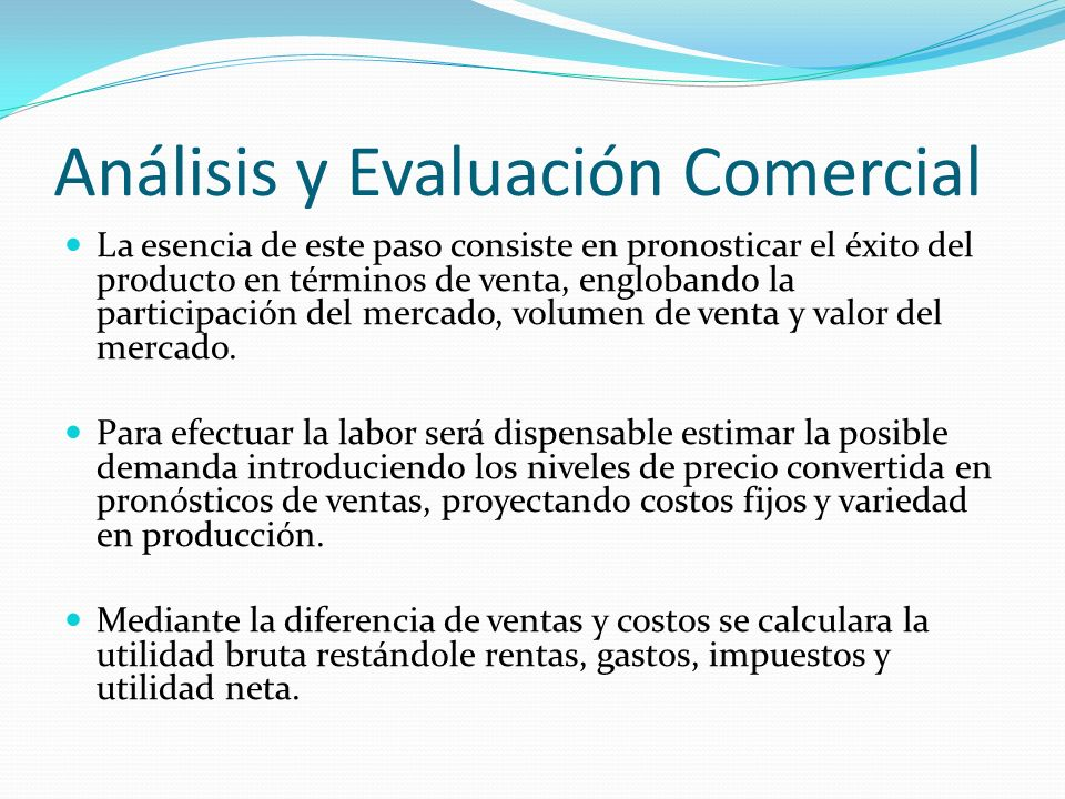 Análisis y Evaluación Comercial