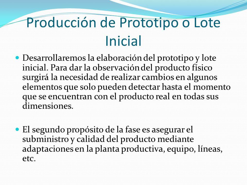 Producción de Prototipo o Lote Inicial