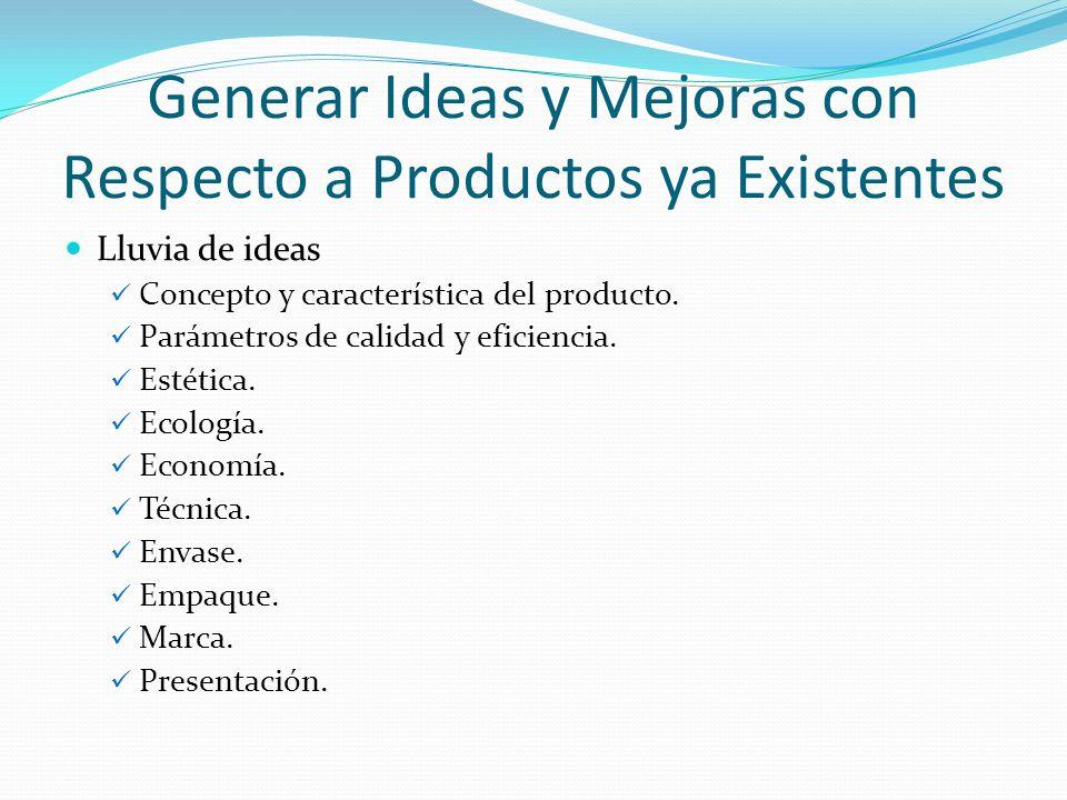 Generar Ideas y Mejoras con Respecto a Productos ya Existentes