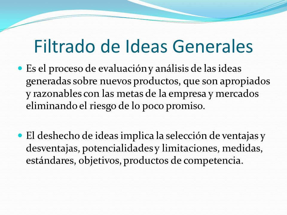 Filtrado de Ideas Generales