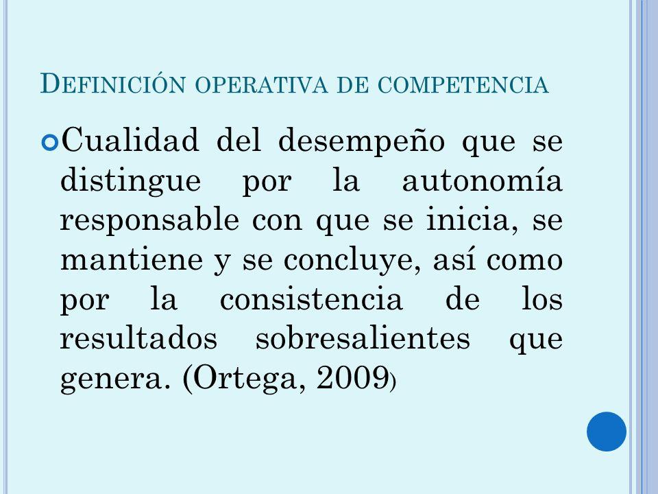 Definición operativa de competencia