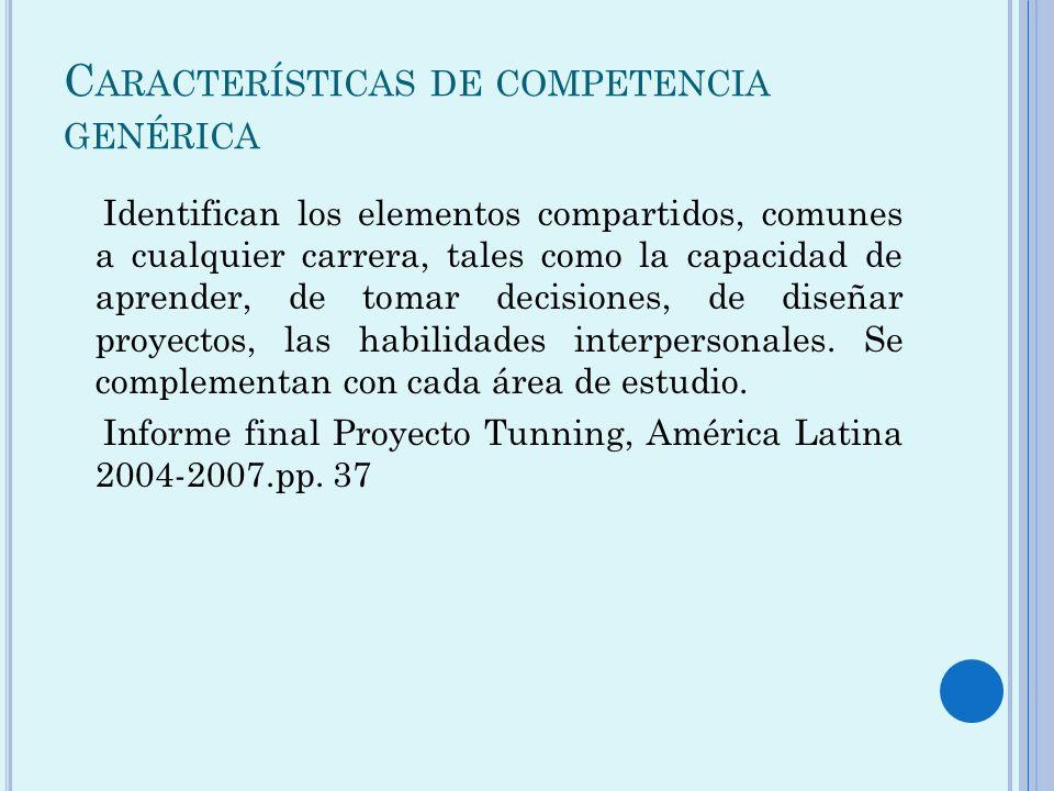 Características de competencia genérica