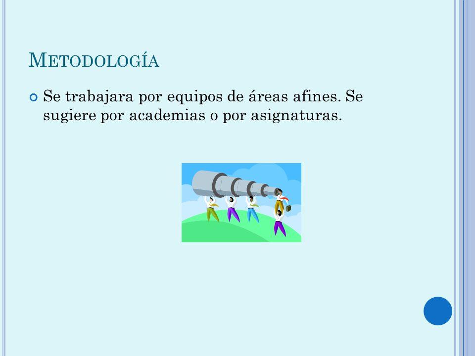 Metodología Se trabajara por equipos de áreas afines. Se sugiere por academias o por asignaturas.