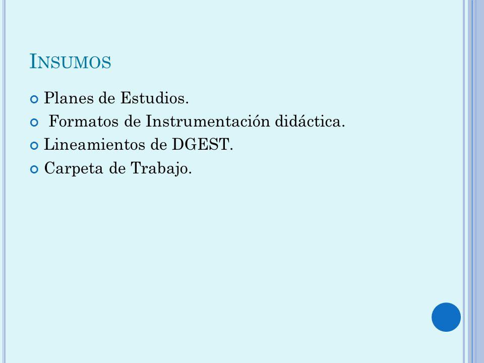 Insumos Planes de Estudios. Formatos de Instrumentación didáctica.