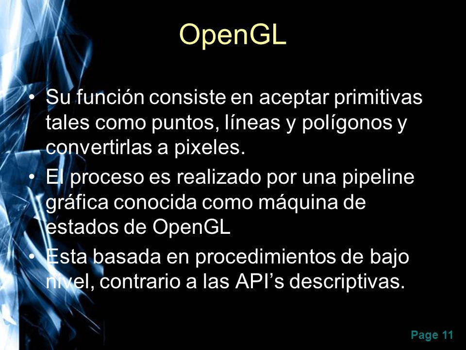OpenGL Su función consiste en aceptar primitivas tales como puntos, líneas y polígonos y convertirlas a pixeles.