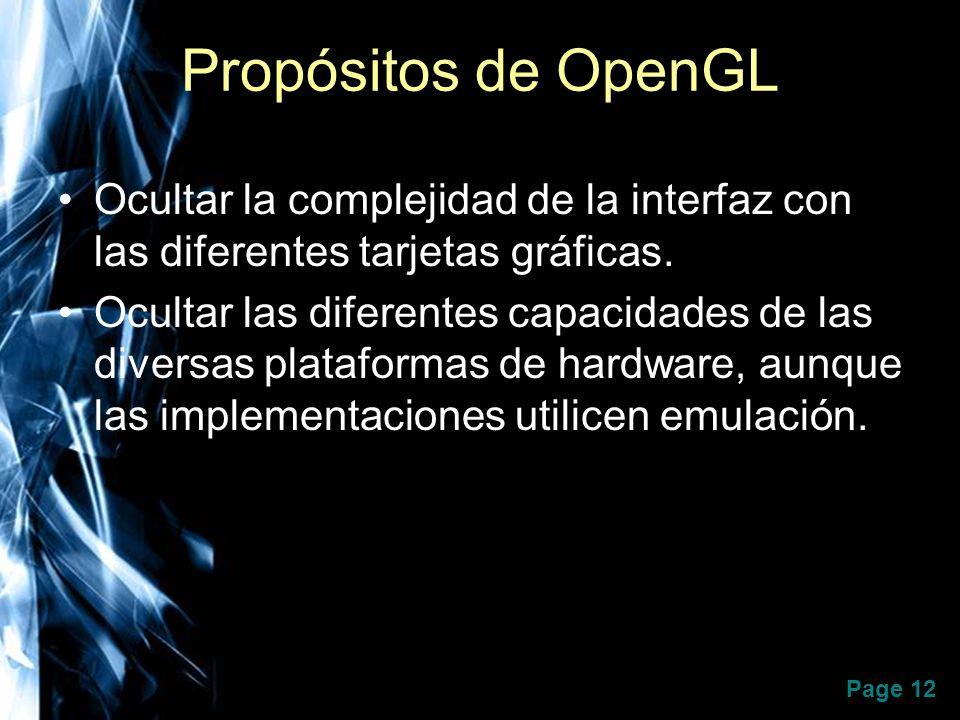 Propósitos de OpenGL Ocultar la complejidad de la interfaz con las diferentes tarjetas gráficas.