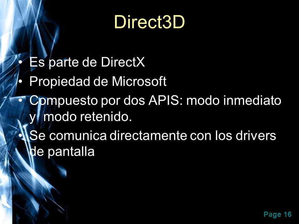 Direct3D Es parte de DirectX Propiedad de Microsoft