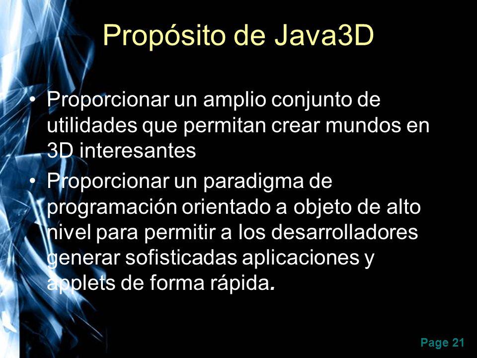 Propósito de Java3D Proporcionar un amplio conjunto de utilidades que permitan crear mundos en 3D interesantes.