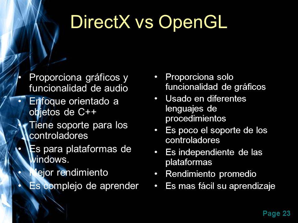 DirectX vs OpenGL Proporciona gráficos y funcionalidad de audio