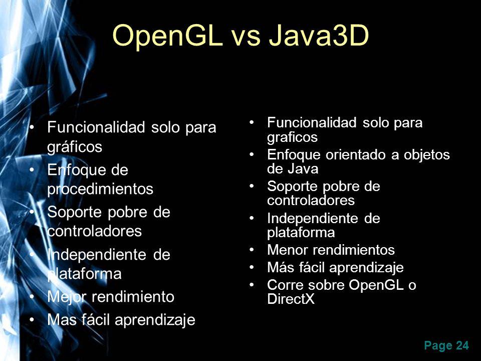 OpenGL vs Java3D Funcionalidad solo para gráficos