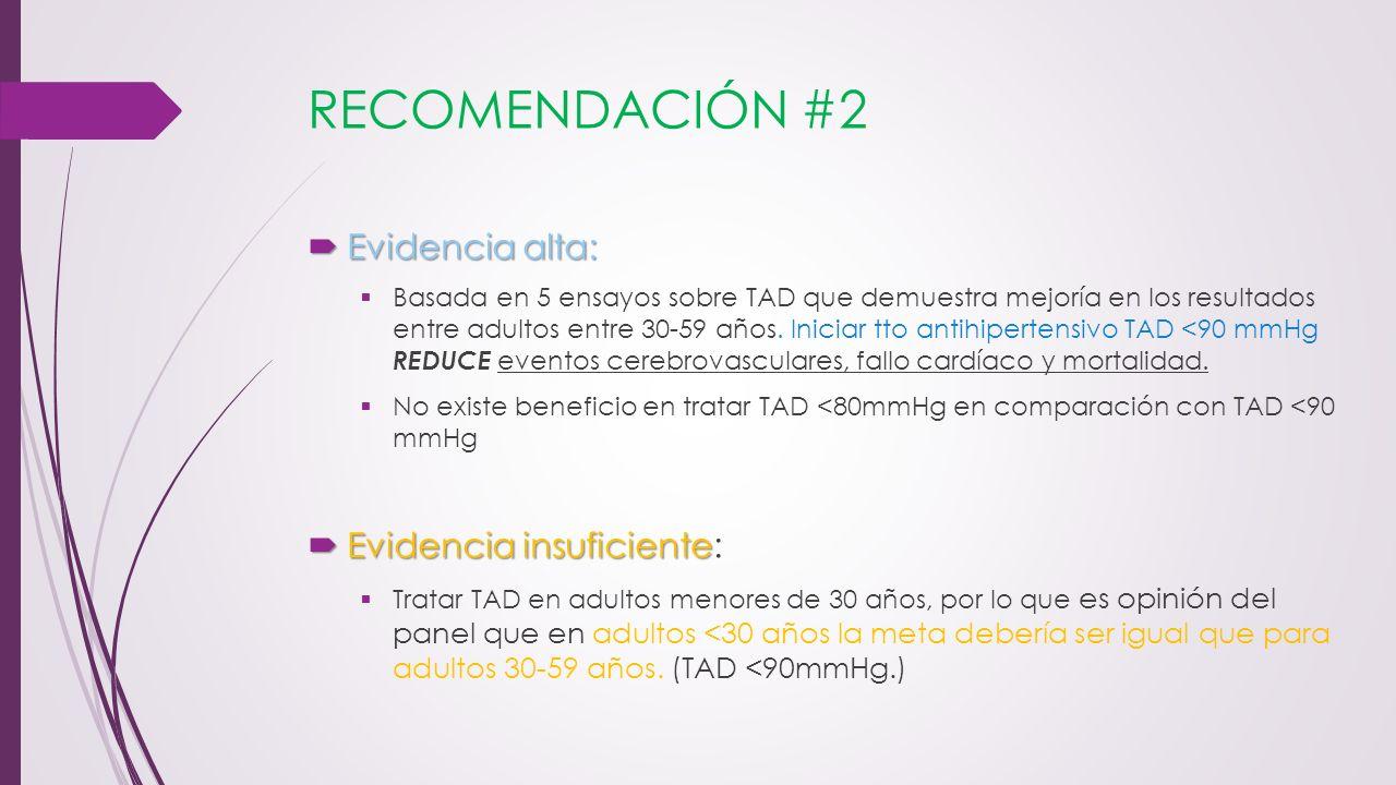 RECOMENDACIÓN #2 Evidencia alta: Evidencia insuficiente:
