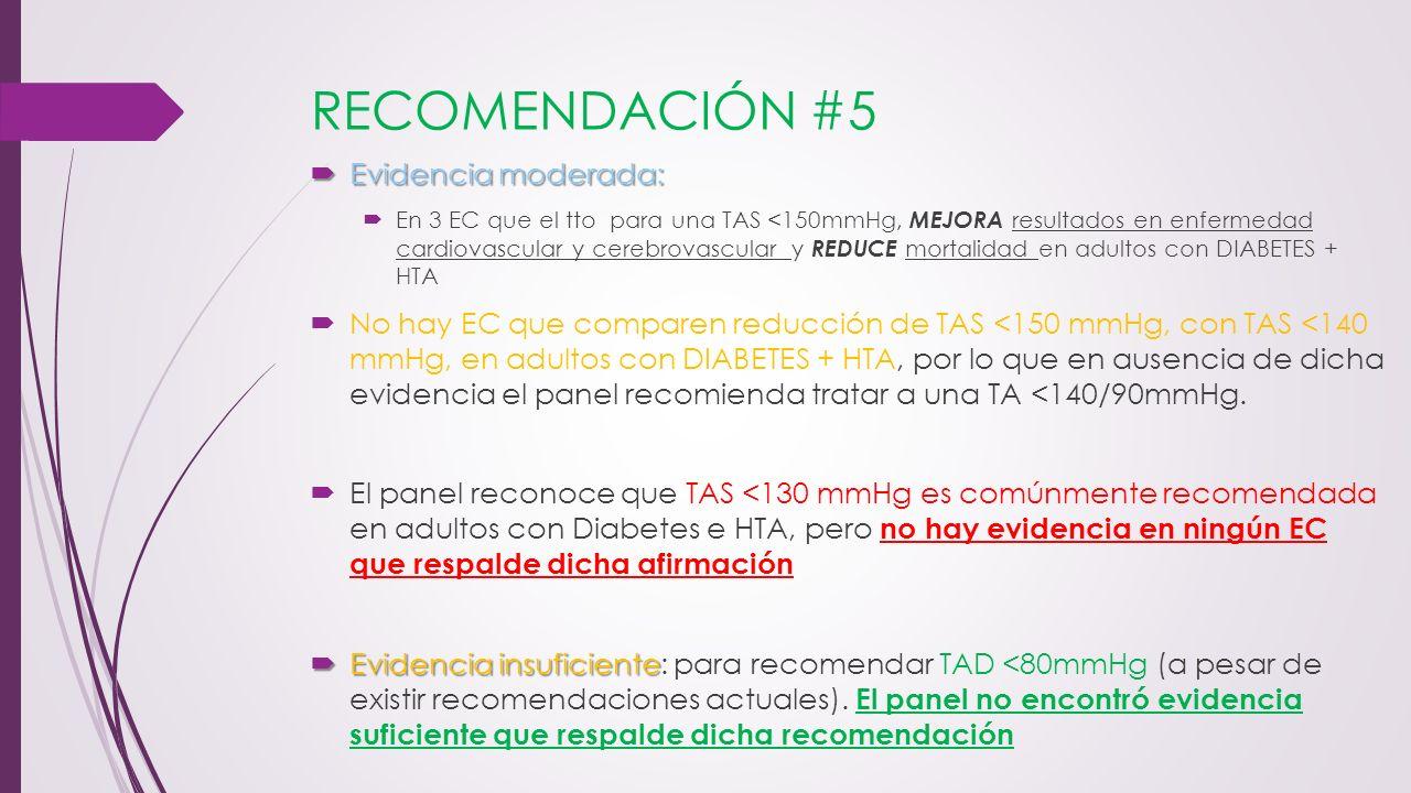 RECOMENDACIÓN #5 Evidencia moderada: