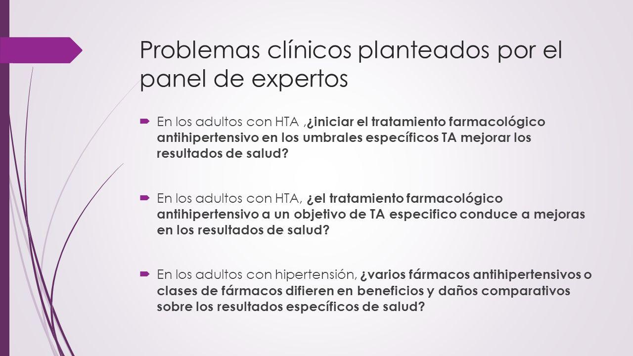 Problemas clínicos planteados por el panel de expertos