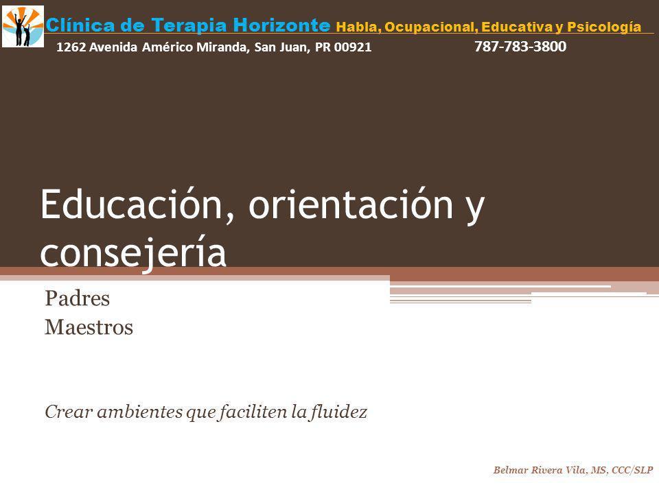 Educación, orientación y consejería