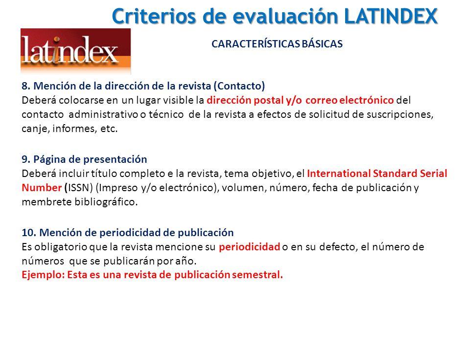 Criterios de evaluación LATINDEX CARACTERÍSTICAS BÁSICAS