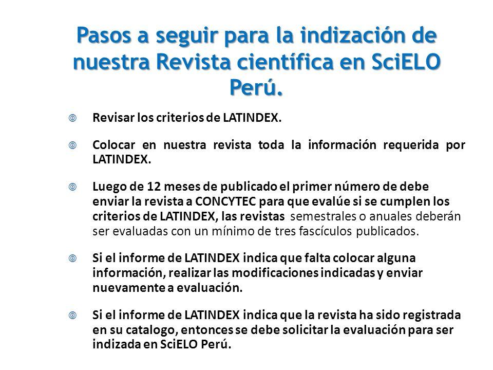 Pasos a seguir para la indización de nuestra Revista científica en SciELO Perú.