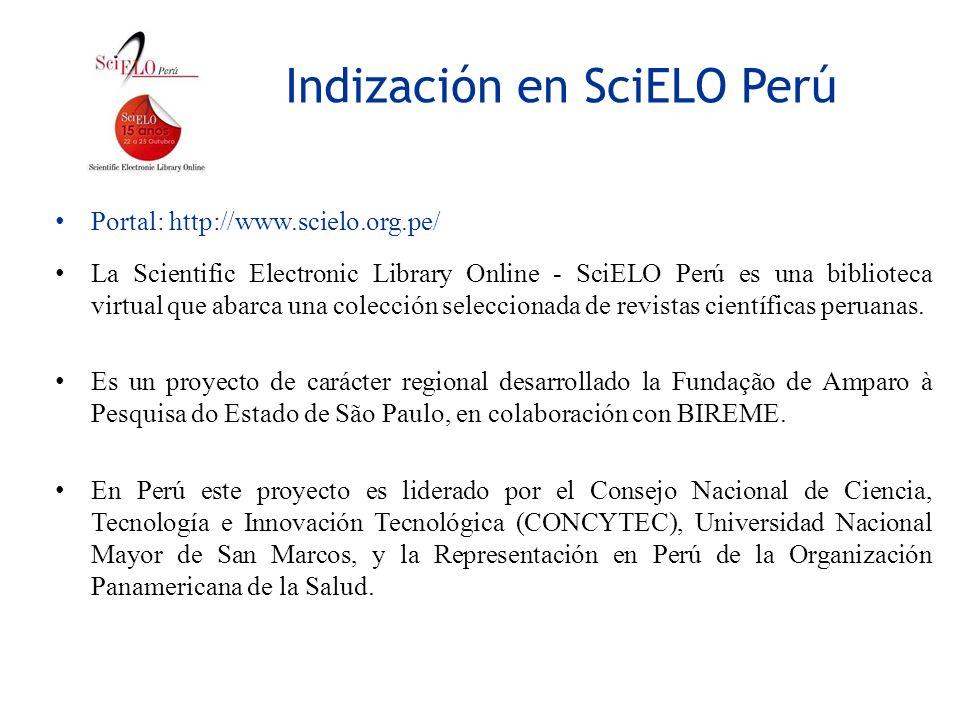 Indización en SciELO Perú