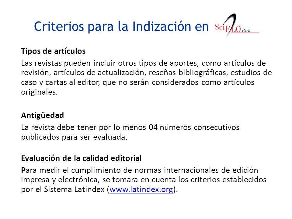 Criterios para la Indización en