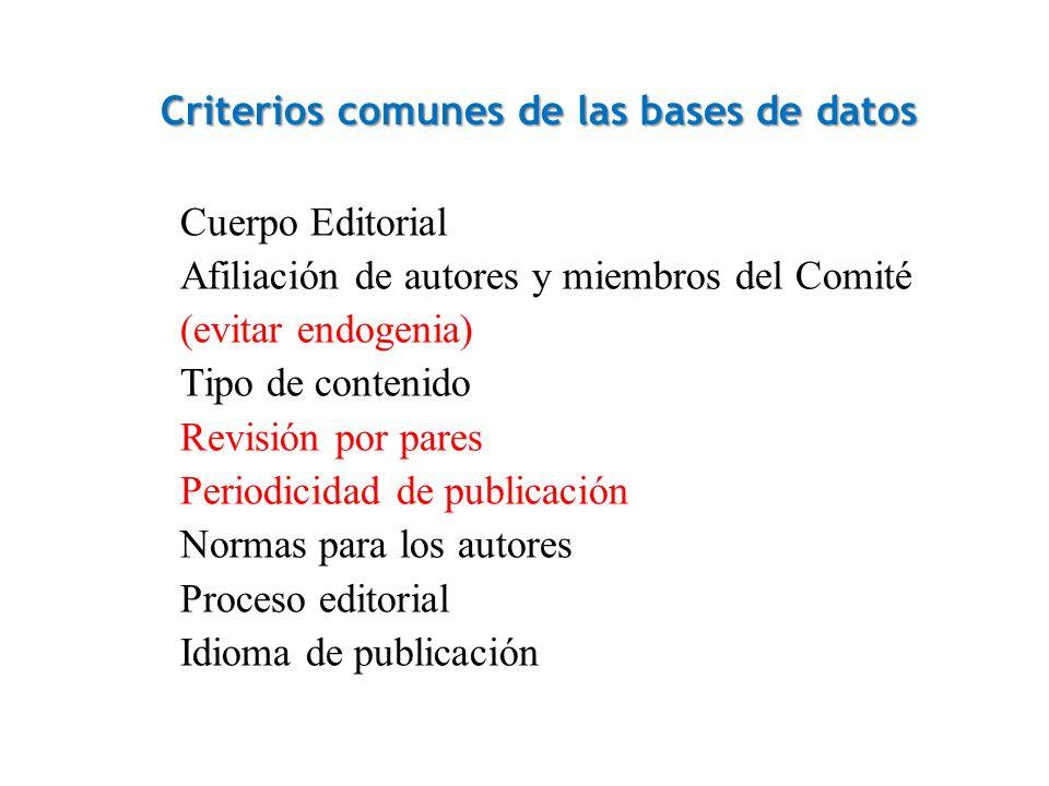 Criterios comunes de las bases de datos