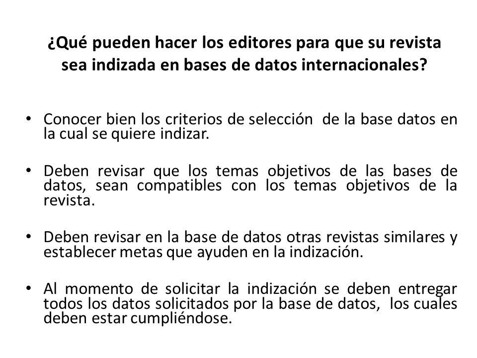 ¿Qué pueden hacer los editores para que su revista sea indizada en bases de datos internacionales