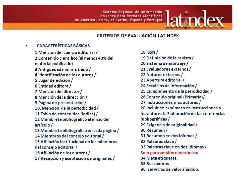 CRITERIOS DE EVALUACIÓN LATINDEX