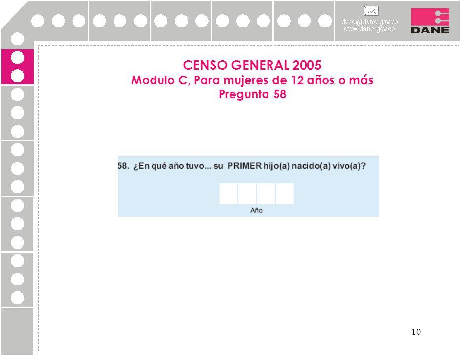 CENSO GENERAL 2005 Modulo C, Para mujeres de 12 años o más Pregunta 58