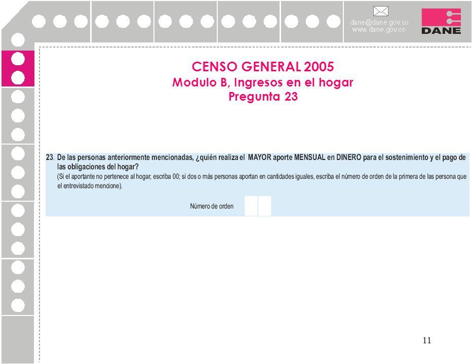 CENSO GENERAL 2005 Modulo B, Ingresos en el hogar Pregunta 23