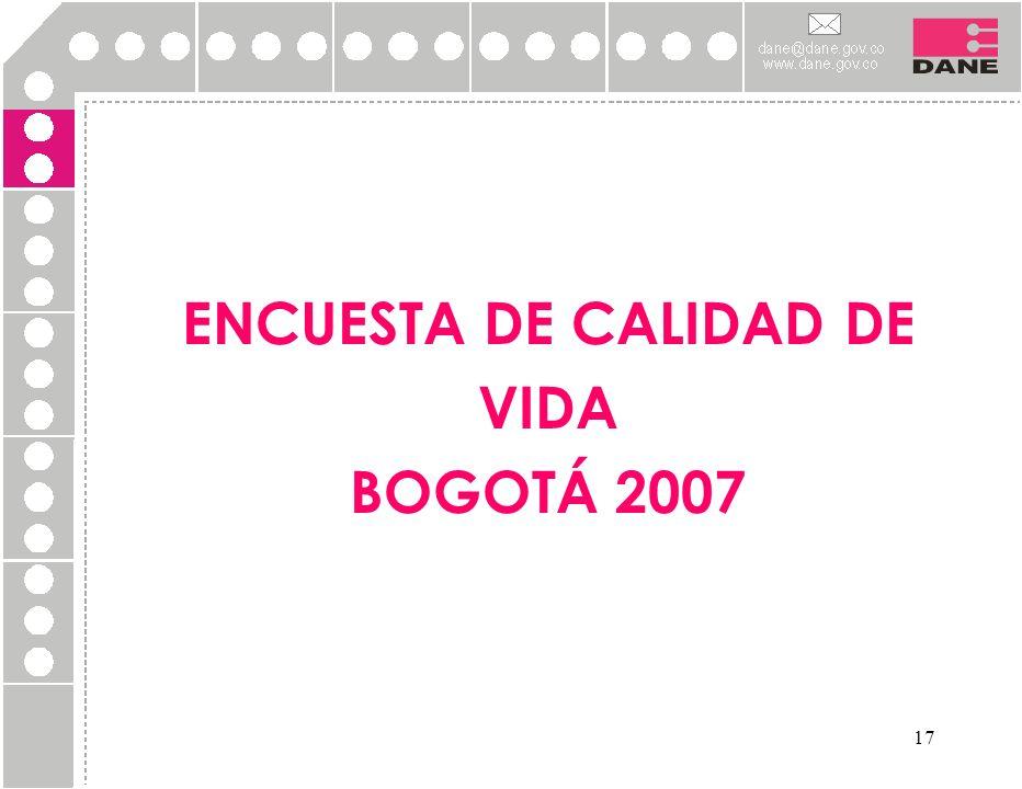 ENCUESTA DE CALIDAD DE VIDA BOGOTÁ 2007