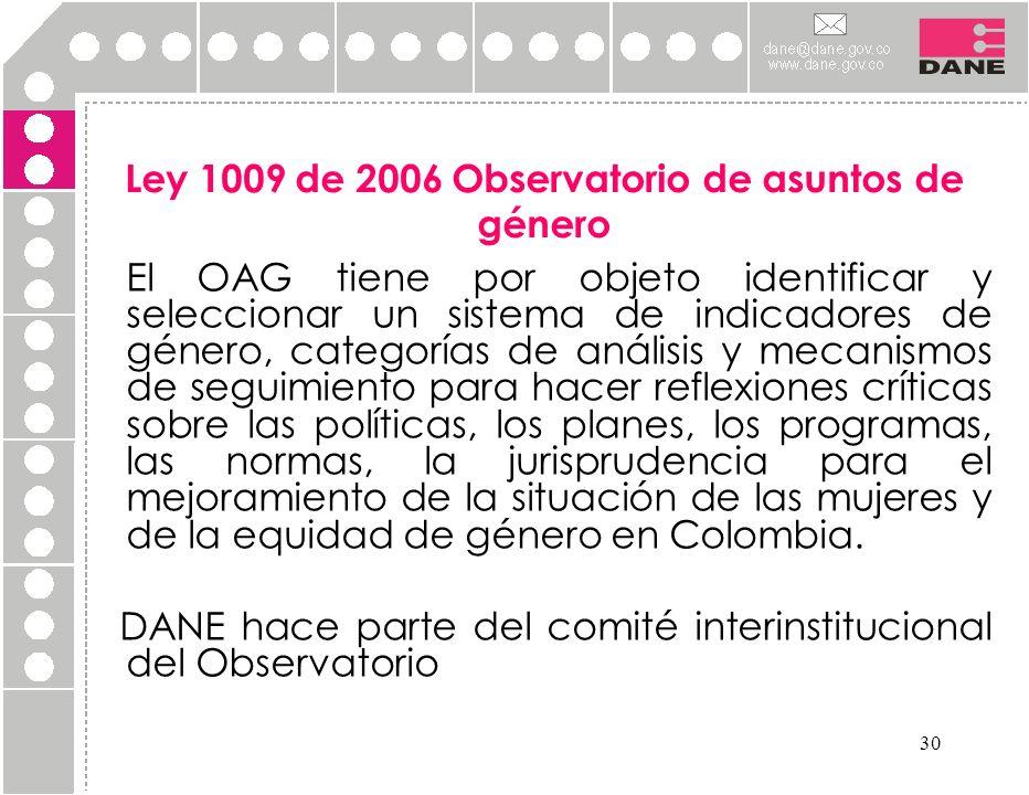 Ley 1009 de 2006 Observatorio de asuntos de género