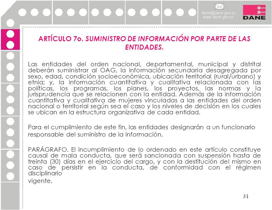 ARTÍCULO 7o. SUMINISTRO DE INFORMACIÓN POR PARTE DE LAS