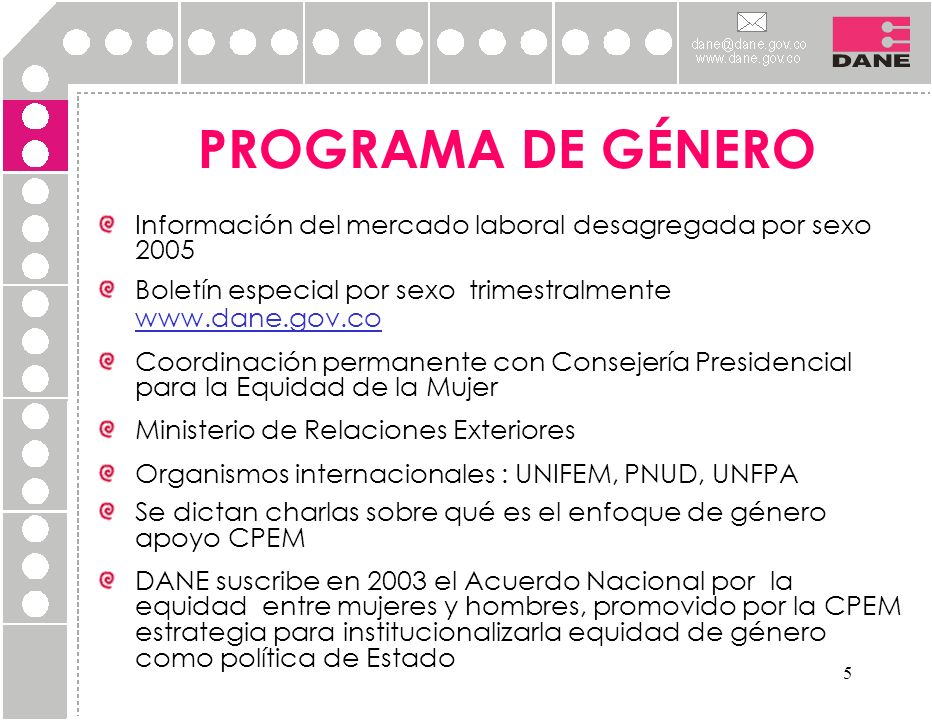PROGRAMA DE GÉNERO Información del mercado laboral desagregada por sexo 2005. Boletín especial por sexo trimestralmente www.dane.gov.co.