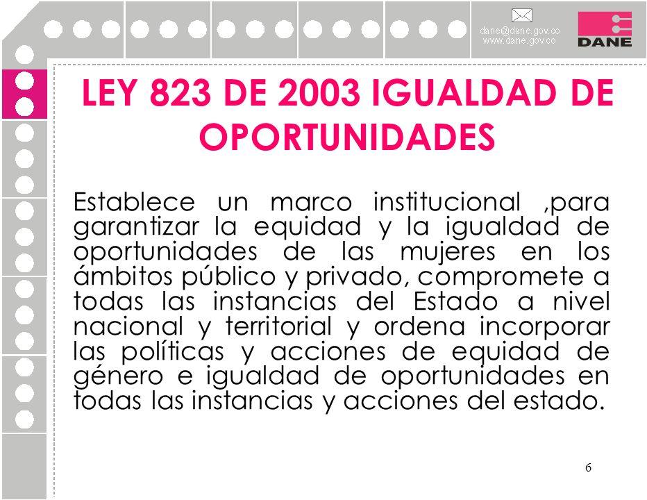 LEY 823 DE 2003 IGUALDAD DE OPORTUNIDADES