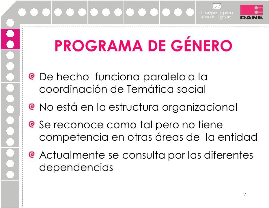 PROGRAMA DE GÉNERO De hecho funciona paralelo a la coordinación de Temática social. No está en la estructura organizacional.