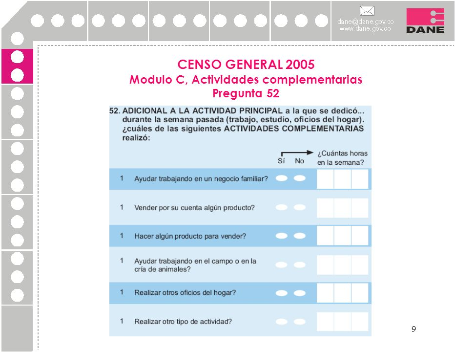 CENSO GENERAL 2005 Modulo C, Actividades complementarias Pregunta 52