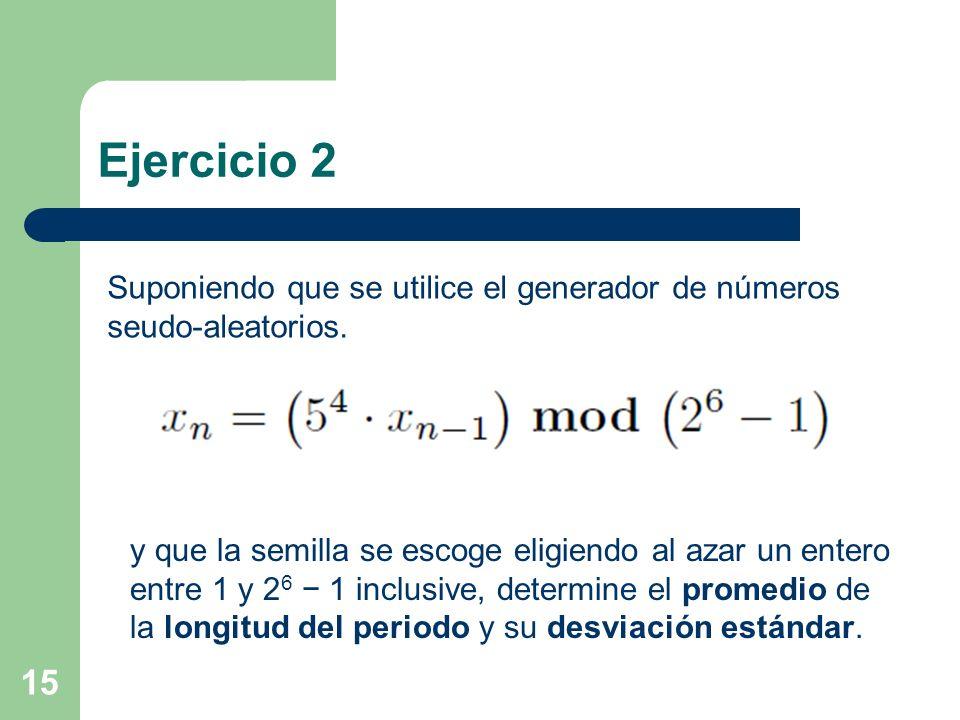 Ejercicio 2 Suponiendo que se utilice el generador de números seudo-aleatorios.