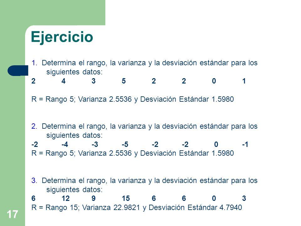 Ejercicio 1. Determina el rango, la varianza y la desviación estándar para los siguientes datos: 2 4 3 5 2 2 0 1.