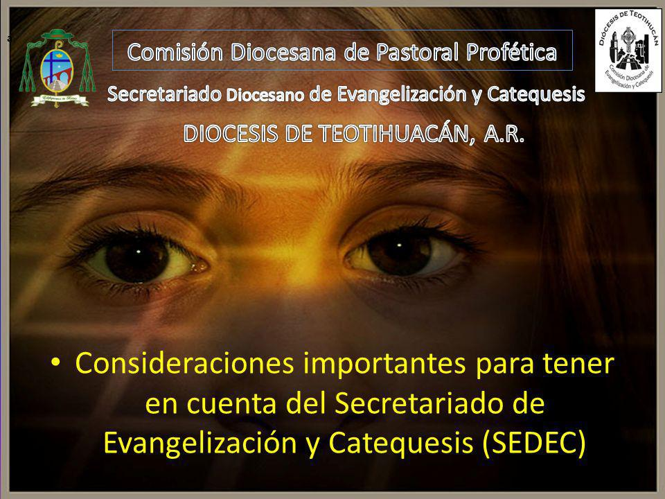 a Comisión Diocesana de Pastoral Profética. Secretariado Diocesano de Evangelización y Catequesis.