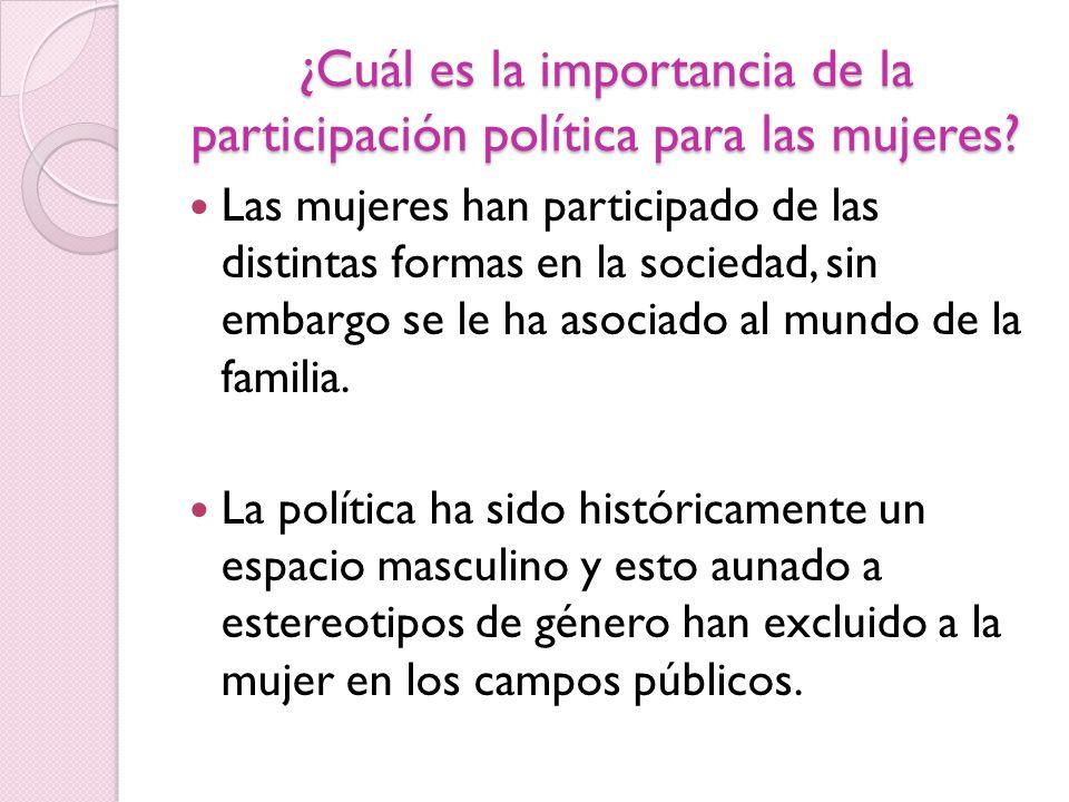 ¿Cuál es la importancia de la participación política para las mujeres