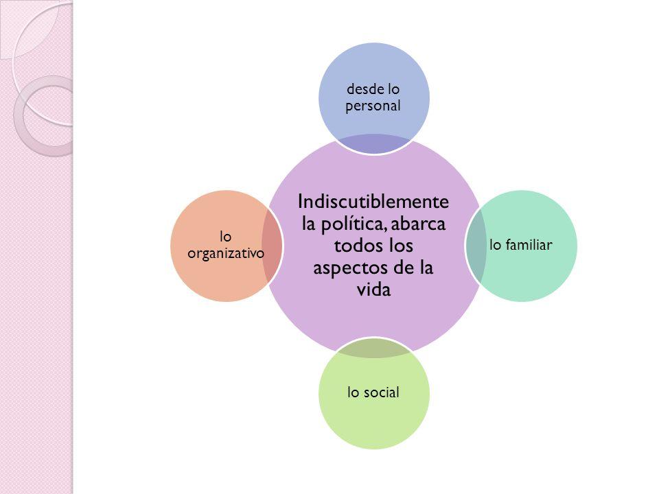 Indiscutiblemente la política, abarca todos los aspectos de la vida