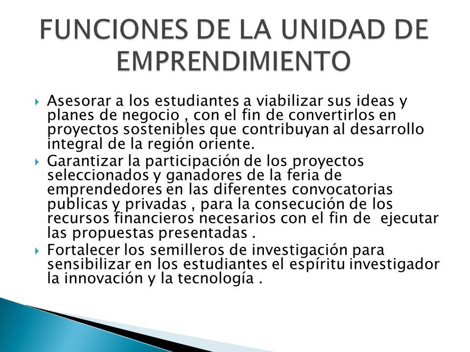 FUNCIONES DE LA UNIDAD DE EMPRENDIMIENTO