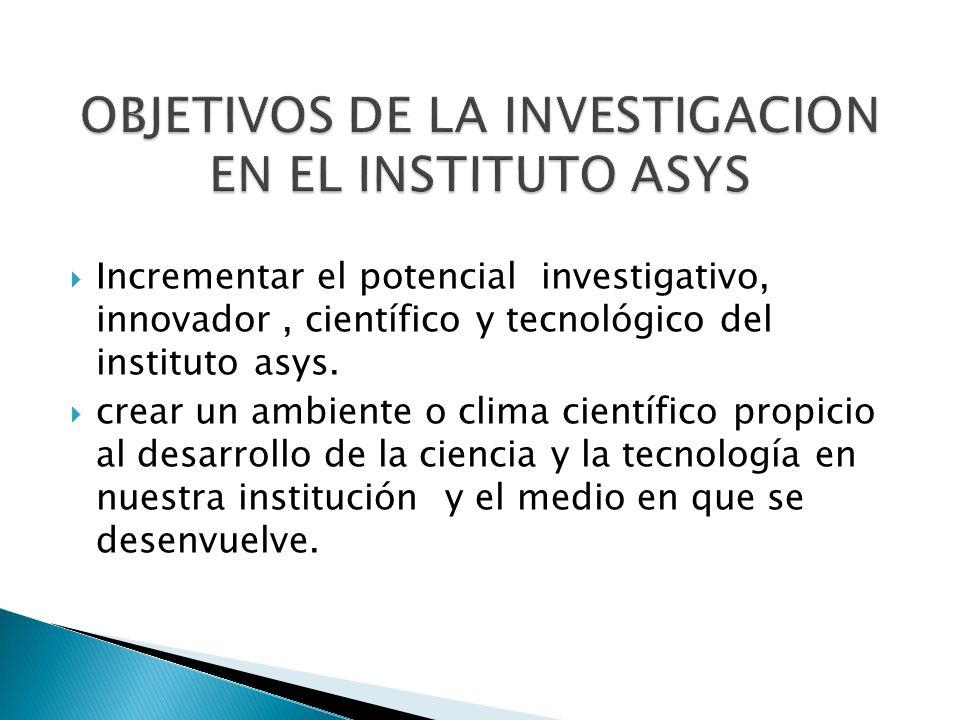 OBJETIVOS DE LA INVESTIGACION EN EL INSTITUTO ASYS