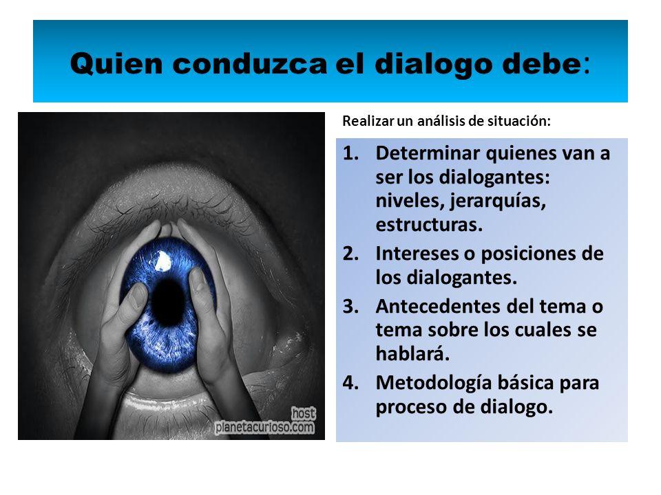 Quien conduzca el dialogo debe: