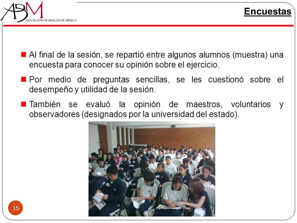 Encuestas Al final de la sesión, se repartió entre algunos alumnos (muestra) una encuesta para conocer su opinión sobre el ejercicio.